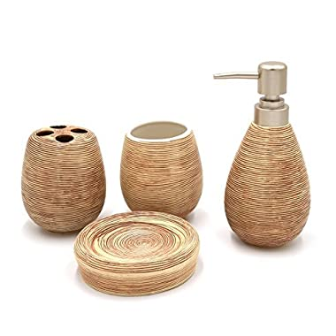 Asien Modern 4 Piece Bathroom Accessories Set Ceramic Soap Dispenser Tumbler Toothbrush Holder Soap Dish