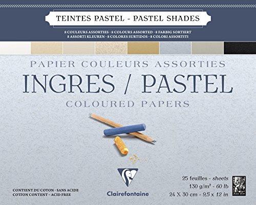 Clairefontaine 96487C Zeichenblock Ingres (geleimt, 25 Blatt, 130 g, gekörnt, 24 x 30 cm, ideal für Trockentechnik) 8 pastellfarben