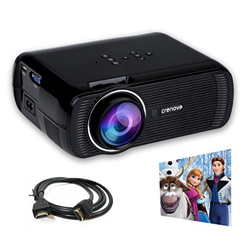 Crenova XPE460ミニLEDプロジェクター 1200ルーメン 800*480解像度 1080PフルHD パソコン・USB TV・タブレット・スマートホン入力対応 無料HDMIケーブル ホーム・シアター・シネマ (1200 Lumens 黒い)