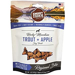 Smart Cookie All Natural Soft Dog Treats – Trout and Apple – Training Treats for Dogs and Puppies with Allergies or Sensitive Stomachs – Grain Free, Chewy, Human-Grade, Low Calorie – 5oz Bag