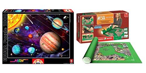 Outletdelocio. Pack Puzzle Educa 14461. Sistema Solar en Neon (Brilla en la Oscuridad). 1000 Piezas + Tapete Universal Puzzle Roll 2000 Piezas