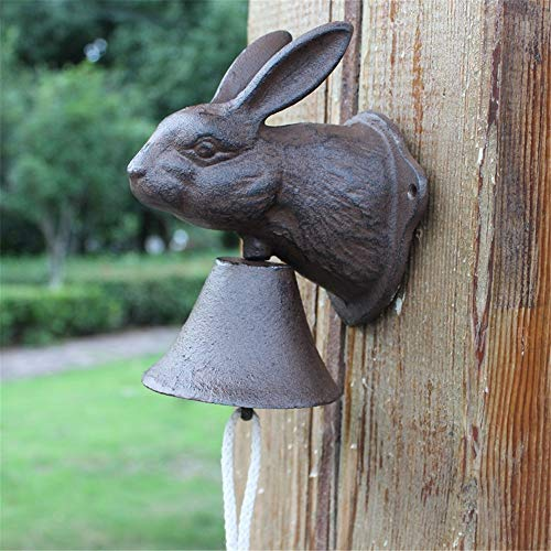 Vintage Bell Cast Iron Wandmontage Vintage Rabbit Cast Iron deurbel tuindecoratie Wall Mounted Voordeur Bell voor Garden Farmhouse Yard (Color : Multi-colored, Size : Free size)