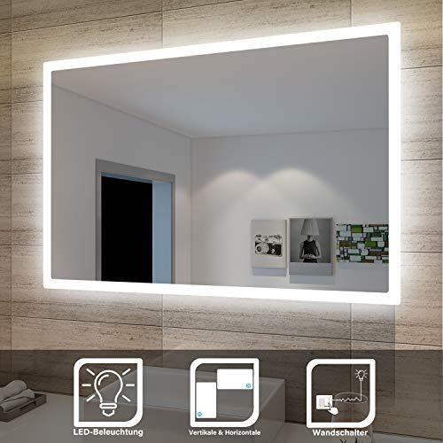 SONNI Badspiegel Lichtspiegel Kupfer/bleifreie Spiegel Wandspiegel 40 x 60cm kaltweiß IP44 energiesparend