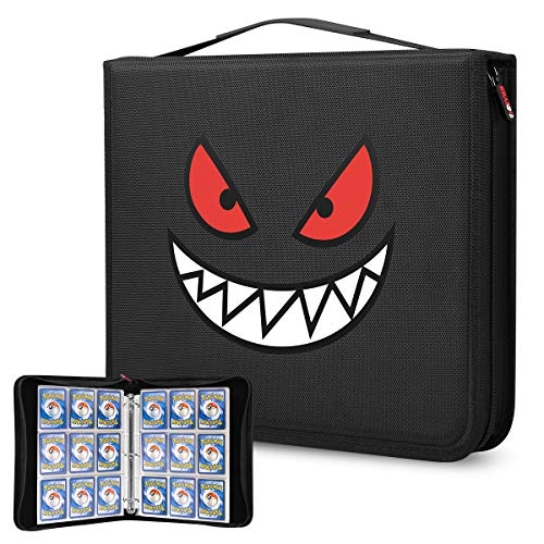 Brappo Carrying Case Compatible with Pokemon Trading Cards, Cards Collectors Album with 40 Premium 18-Pocket Pages, Holds Up to 720 Cards (Smiley face