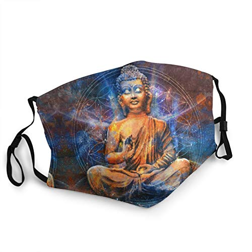 Adjustable Adult Dust Face Mask Buddha Statue Washable for Men Women Breathable Mouth Cover Black