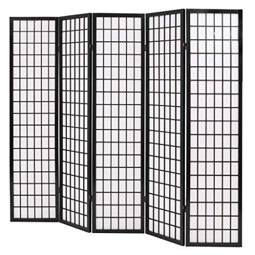 Tidyard Paravent Interieur Pliable | Cloison de Séparation | Paravent 5 Panneaux Style Japonais 200x170 cm Noir