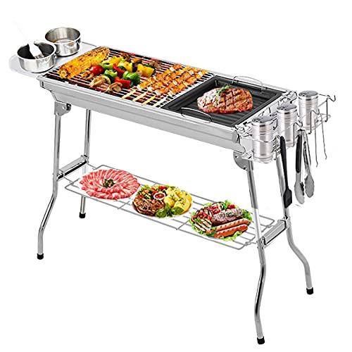 Griglia per barbecue in acciaio inox con supporto, grande, pieghevole, portatile, per 5 – 15 persone, per cucina, campeggio, picnic, viaggi, giardino, feste (Deluxe Edition)
