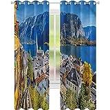 jinguizi Cortinas opacas para otoño y montaña, pueblo de Austria, 42 x 72, oscurecimiento de habitación, decoración del hogar para habitación de los niños