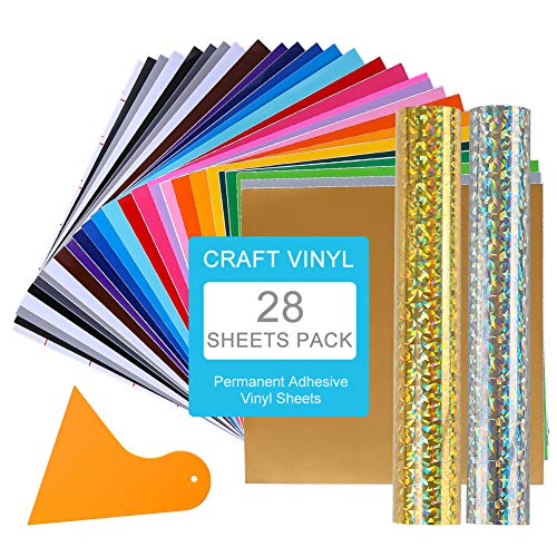 Adhesive Permanent Vinyl Sheets for Cricut - 31 Packed Assorted Colors Adhesive Backed Vinyl Paper for Cricut Silhouette Cameo Vinyl Sheets 12 in x 12 in