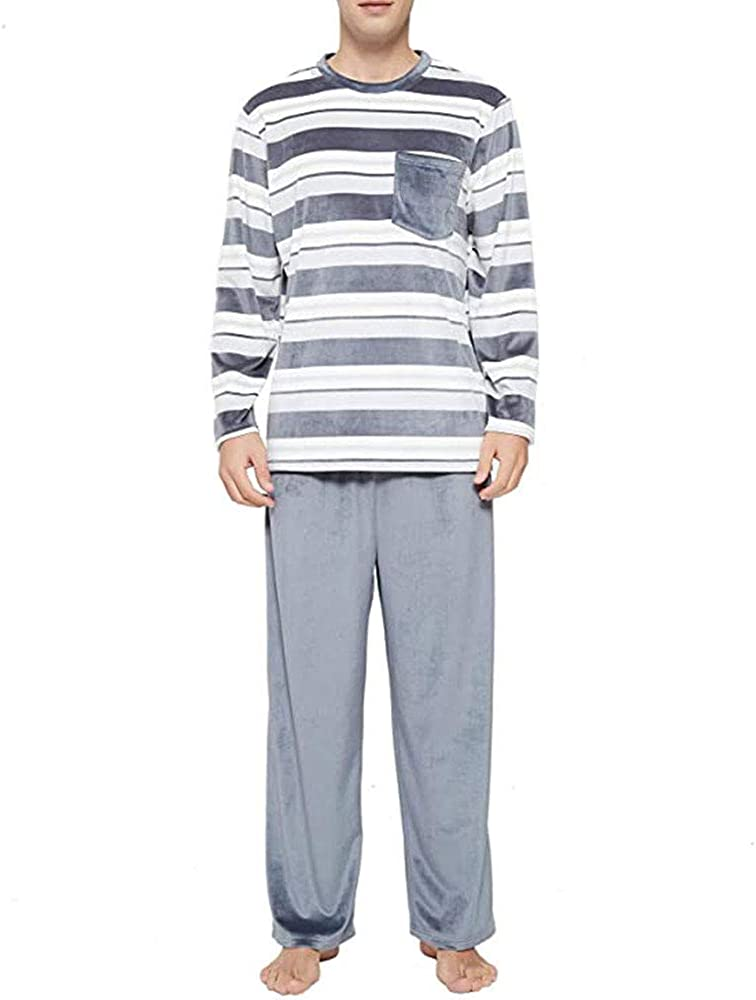 Men and Women Matching Pajamas Set Stripe Long Sleeve Tops Pants Sleepwear Set for Couples Lounge 2 Piece Set