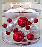 120 Floating Red & White Pearls with Matching Gems - No Hole Jumbo/Assorted Sizes Vase Decorations & Table Scatters + Includes Transparent Water Gels Packets for Floating The Pearls