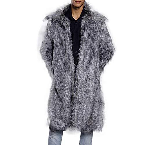 Homebaby Invernale Cappotto in Pelliccia Sintetica da Uomo Elegante Giacca Parka Spessa Caldo Classico Felpe Giubbini Manica Lunga Camicia Maglia Autunno Inverno Abbigliamento