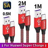 QGhappy Cavo USB C,3Pezzi [0.5M 1M 2M ] 5A Cavo USB Type-C Ricarica Rapida Trasmissione Cavo Tipo C Cable Huawei Super Charge Nylon per Huawei P30 P20 P10 PRO Mate20 Lite Mate9 Mate10 Plus