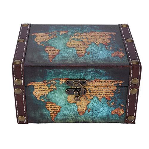 Eulbevoli Caja de baratijas de Madera Duradera Organizador de baratijas de Estilo Retro Hebilla Antigua de Metal Adornos de Escritorio Vintage Anillos día(2208A-06-Green Map)