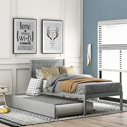Merax Solid Wood Twin Size Platform Bed with Trundle, Wooden Bed Frame Twin Trundle Bed (Grey)