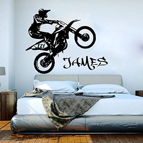 WERWN Motocicleta Pared niño niños habitación Scooter Suciedad Vinilo Dormitorio decoración