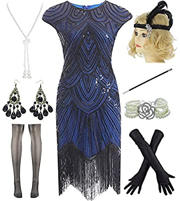 Women Plus Size 1920s Vintage Flapper Fringe Gatsby Party Dress with 20s Accessories Set