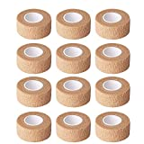 sansheng 1Inch Self Adherent Cohesive Wrap Bandages,Brown Athletic Tape for Wrist, Ankle, Hand, etc(12pcs)
