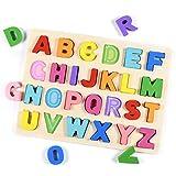 Tablero del Rompecabezas Alfabeto,Aprendizaje temprano Juguetes de Madera educativos para bebé, Multicolor Rompecabezas Bloques de Letras ABC Abecedario para Niños Juguetes de Madera Educativos