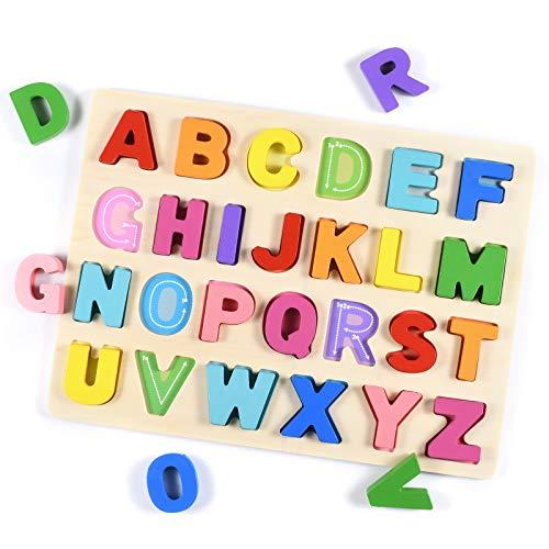 Tablero del Rompecabezas Alfabeto,Aprendizaje temprano Juguetes de Madera educativos para bebé, Multicolor Rompecabezas Bloques de Letras ABC Abecedario para Niños Juguetes de Madera Educativo