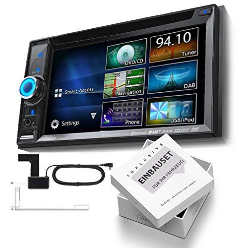 Clarion NX505e 2-DIN DAB Navigation Bluetooth DVD USB passend für Hyundai i40 ab 2011 Piano Black