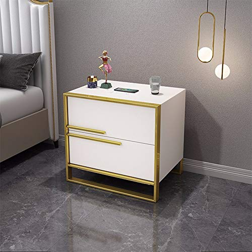 HSTD Smart Bedside Cabinet Chest Of Drawers 2 Drawer With Metal Handles & Runners, Wireless Charging, Air Purification Modern Simple Bedroom Furniture, Bluetooth Player(Cortical) B white