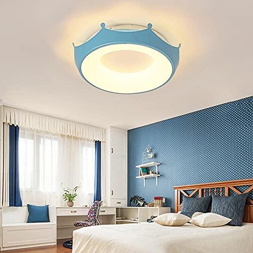 Lámpara De Techo Regulable Con Mando A Distancia Para Habitación Infantil,Plafón Led De Techo Niña,Luz De Corona Romántica Simple Una Luz Blanca Azul 46 * 8Cm