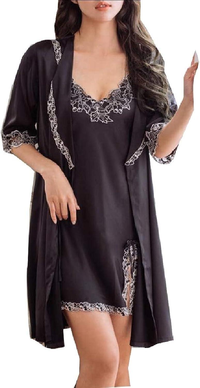 Keaac Womens Silk Satin Robe Camisole Pajama Dress Two Piece Suit Sleepwear