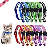 BTkviseQat Katzenhalsband mit Glöckchen,Cat-Halsband,Reflektierendes Katzenhalsband mit Sicherheitsverschluss, Verstellbar Nylon Halsbänder für Katzen(12 Stück)