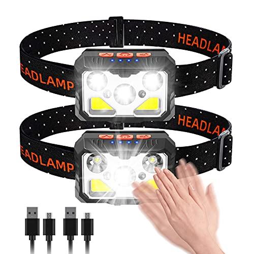 bedee Linterna Frontal, Frontal LED Recargable, Linterna Cabeza 7 Modos con Sensor y Luz Roja, 2 Unidades 1500 Lúmenes...