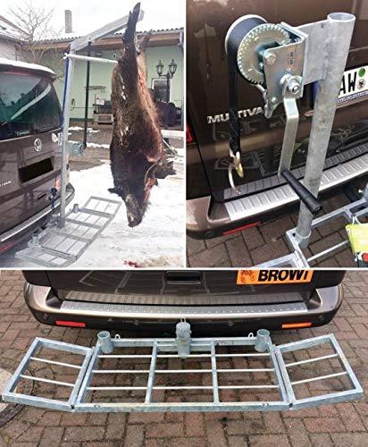 Wildi - Juego completo de soporte para caza (hasta 250 kg, incluye cabrestante y fuente, soporte trasero)