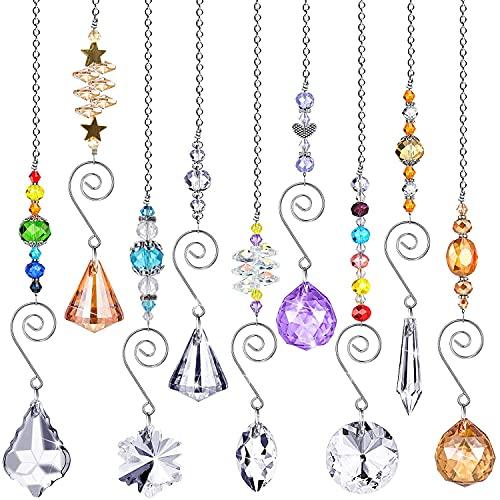 Locopeas Atrapasoles de Cristal,9pcs Colgante de Bolas Cristal Feng Shui Decoracion Que...