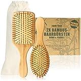 com-four® 2er Set Natur-Haarbürste aus Bambus -...