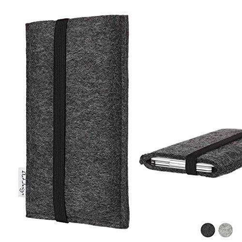 flat.design vegane Handy Tasche Coimbra kompatibel mit Huawei P20 Pro Single-SIM - Schutz Hülle Tasche Filz vegan fair schwarz