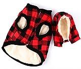 Rantow Giacca per cani antivento Cappotto invernale Cappuccio rimovibile Giacca per cani tempo freddo Plaid rosso/Plaid blu Cucciolo con cappuccio Abbigliamento maglione Abiti (XL, Plaid Rosso)