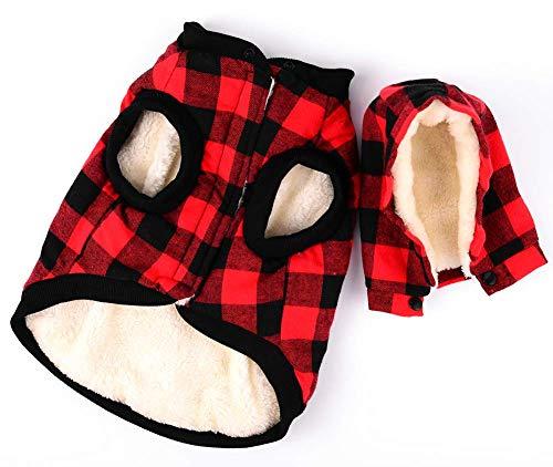 Rantow Giacca per cani antivento Cappotto invernale Cappuccio rimovibile Giacca per cani tempo freddo Plaid rosso/Plaid blu Cucciolo con cappuccio Abb