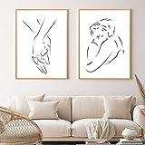 DASHBIG Dibujo Lineal Pareja Abrazo de Mano Carteles Abstractos Arte de la Pared Impresión en Lienzo Negro Blanco Pintura Simple Cuadros Decorativos para Dormitorio   50x70cmx2 Sin Marco