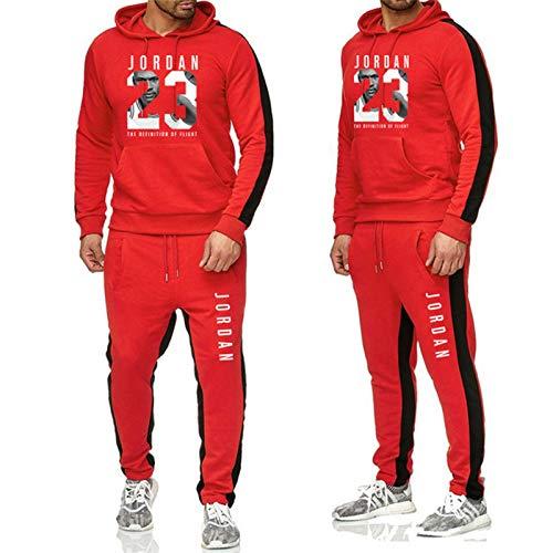 XIKONG # 23 Jordan Hombres Baloncesto Jersey Suéter Traje Toro, Chaqueta De Entrenamiento para Hombre Manga Larga con Capucha Sudadera con Capucha Pantalones Deportivos CAS Red-XXL