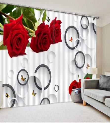 chinawh Vorhang 3D moderner Fotorot-Rosen-Blumenvorhang des Hauses 3D wide200cm high150cm