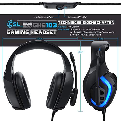 CSL - Gaming Headset für PC Xbox One Xbox One S Xbox One X PS4 PS4 Pro PS5 - Klinkenanschluss 3,5mm - Klinke Kopfhörer mit Mikrofon - Headset - Für Gaming Musik Chat