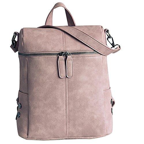 Ansenesna Rucksäcke Damen Rosa Leder Groß Elegant Schultertasche Mädchen Freizeit Taschen Für Reise Outdoor (Rosa)
