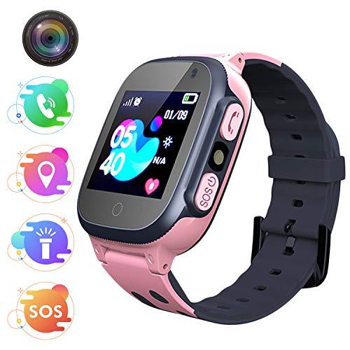 Bambini Smartwatch -Smartwatch per ragazze e ragazzi con Tracker Posiziona Fotocamera Gioco di Matematica Torcia Elettrica Pedometro per regalo di Compleanno(rosso)