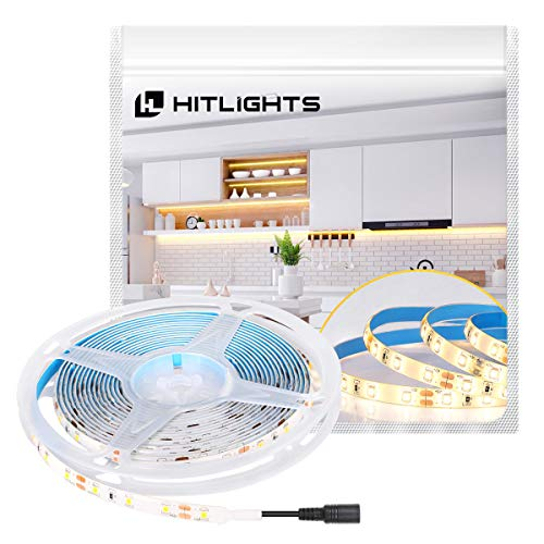 HitLights LED Strip Lights Warm White SMD 300LED 16.4FT 3528 LED Light Strip 3000K 12V DC Tape...