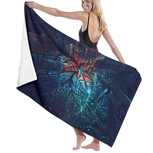 N \ A Soft and lightweight bath towel blanket, Indonesian Java style batik wave and floral pattern tiles, bath towel for family hotel travel, swimming, home decoration, beach towel 52x 32