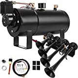 Bestauto 4 Trumpet Train Air Horn Kit Black Horns 1.1 Gallon Tank For Train Horns Fits Almost Any Vehicle, Truck, Car, Jeep or SUV, With 120PSI 12V Air Compressor