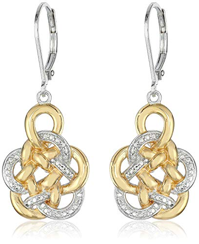 Two Tone 18k Yellow Gold and Rhodium Plated 925 Sterling Silver Celtic Knot Drop Earrings