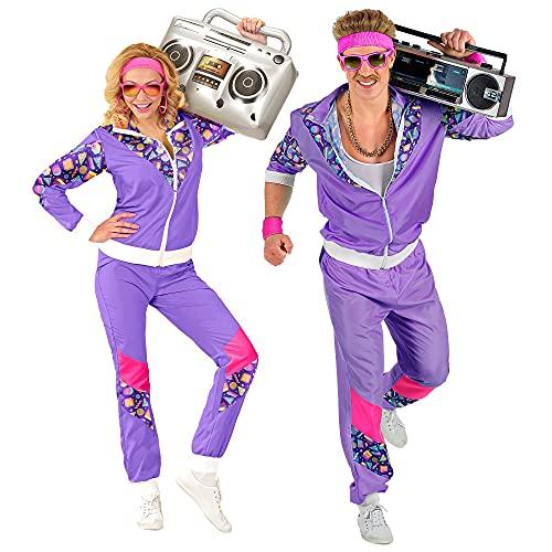 Widmann 00202 - Kostüm 80er Jahre Trainingsanzug, Jacke und Hose, angenehmer Tragekomfort, Assi Anzug, Proll Anzug, Retro Style, Bad Taste Party, 80ties, Karneval