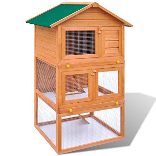 Festnight Kaninchenstall Hasenstall Kaninchenkäfig aus Holz mit 3 Schichten 80 x 71 x 160 cm