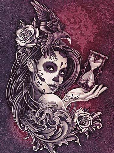 Mexikanisches Halloween-Mädchen – (MG-265) (30x40 cm) Gobelin Stickbild Halber Kreuzstich Stickpackung