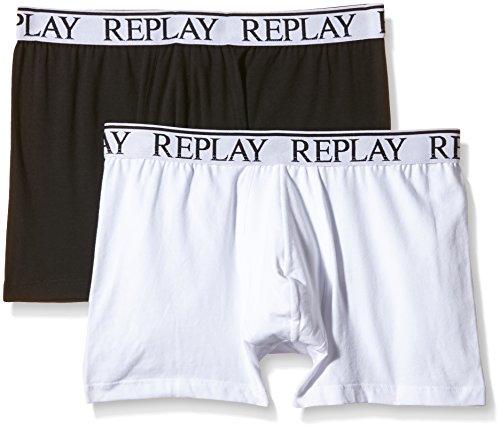 Replay Herren Boxer Shorts, 2er Pack, TM606 .000.N001, Schwarz/Weiß (001), 48 (S)